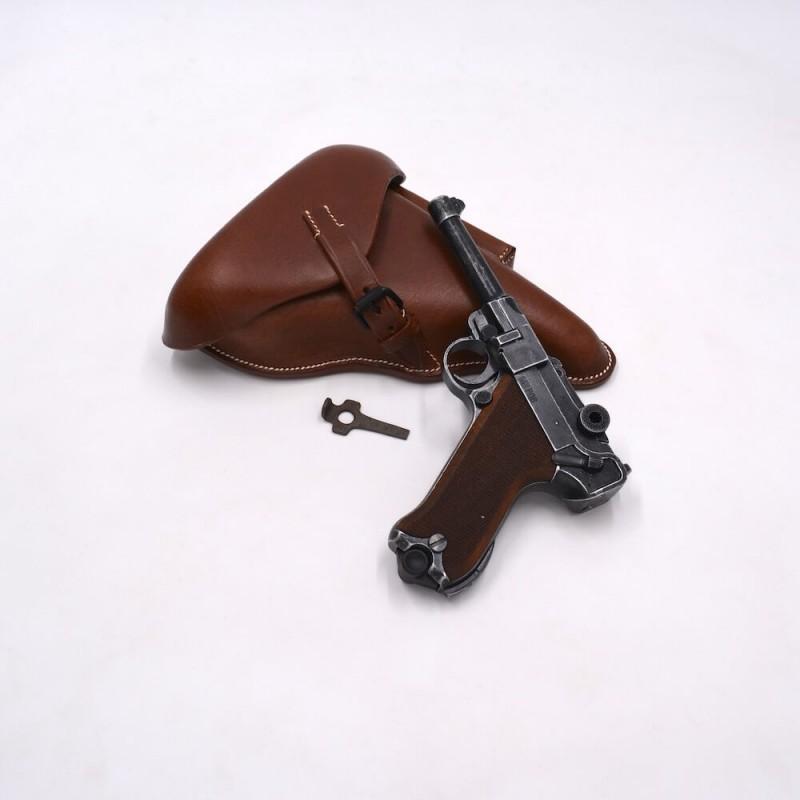 Pack Luger P08 vieilli 9mm PAK - Etui marron et outil