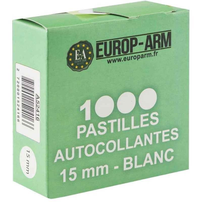 Pastilles autocollantes blanches 15mm