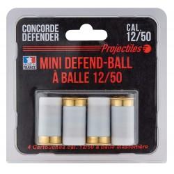 4 cartouches Mini Defend-Ball cal. 12/50 à balle Elastomere Bior