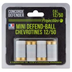4 cartouches Mini Defend-Ball cal. 12/50 chevrotine Elastomere