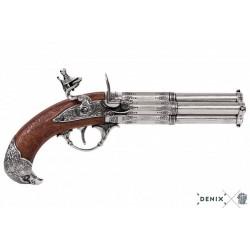 Pistolet 4 canons tournants France S. XVIII Denix