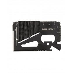 Tool Card Survival Paracord Noir Avec Étui